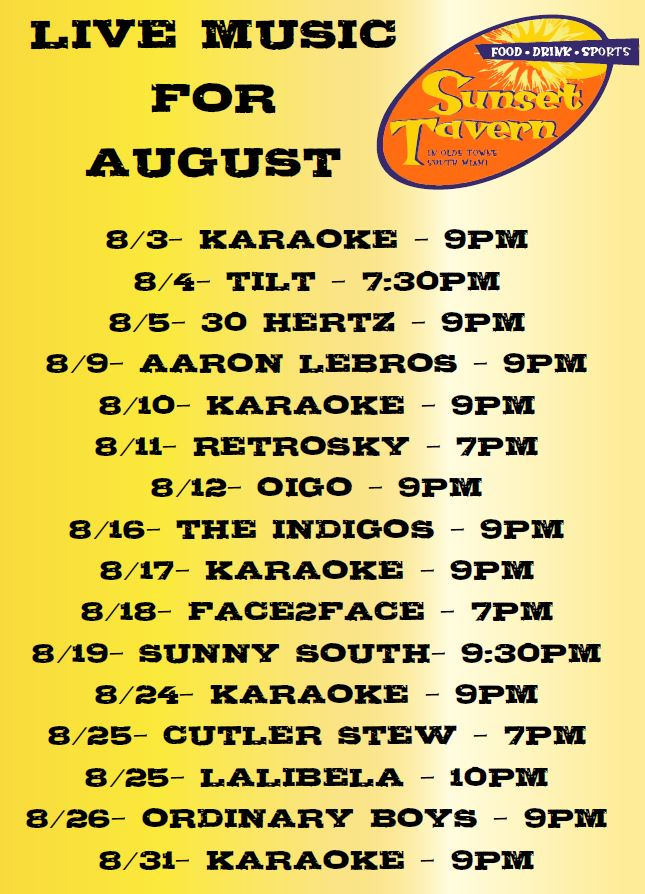 August 2017 Music Lineup!