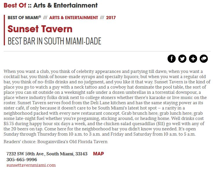 Voted best Tavern in South Miami Dade by Miami New Times!